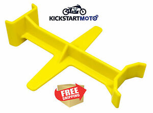 Yellow Tie Down Brace Block Fork Saver Seal Savers Motocross Dirtbike Motorcycle