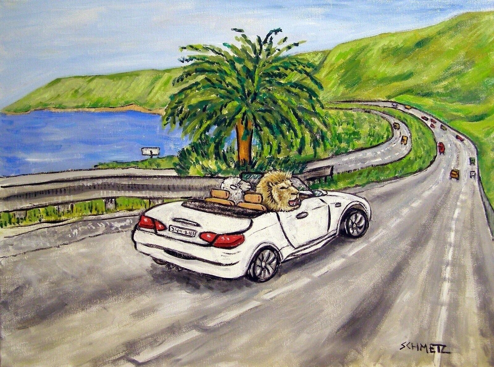 lion and the lamb driving a car  art print 11x14