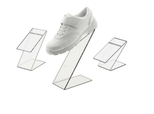 Clear Slant Back Acrylic Shoe Risers Display Stand Set of 3 with Heel Stop