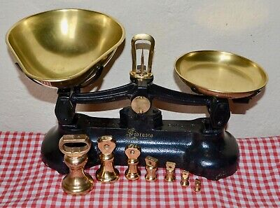 "VINTAGE ENGLISH ""LIBRASCO"" KITCHEN SCALES 7 BRASS BELL WEIGHTS"