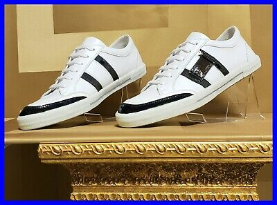 NEW VERSACE COLLECTION WHITE LEATHER and BLACK PATENT DETAIL SNEAKERS 42 - 9