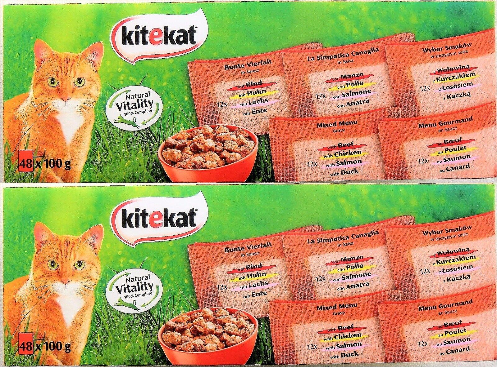 Kitekat Katzenfutter - Mix in Sauce - Bunte Vierfalt - Nassfutter - 96 x100g