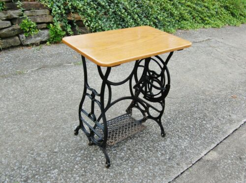 """Table Made w/ Treadle Sewing Machine Cast Iron /Solid Oak Top 29"""" LOCAL PICKUP"""