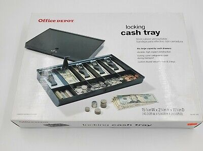 Office Depot Cash Coin Register Money Tray Security Lock Cashier Drawer New