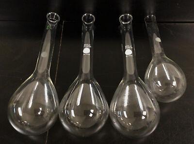 Lot Of 4 Pyrex Glass Long Neck Kjeldahl Flask W Round Bottoms