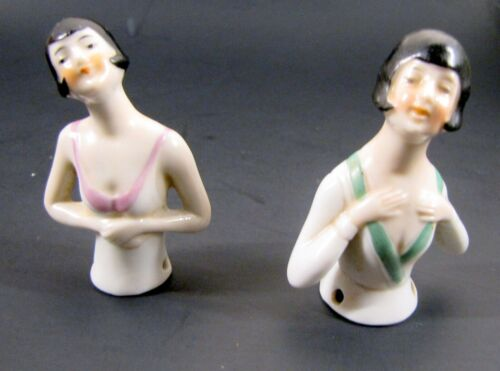 ( 2 ) ANTIQUE Porcelain China HALF DOLL Pincushion Flapper GERMANY ART DECO