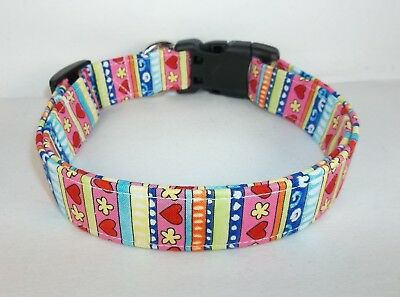 Red Hearts Multi Color Stripe Terri's Dog Collar Custom made Adjustable Charming - Red Hearts