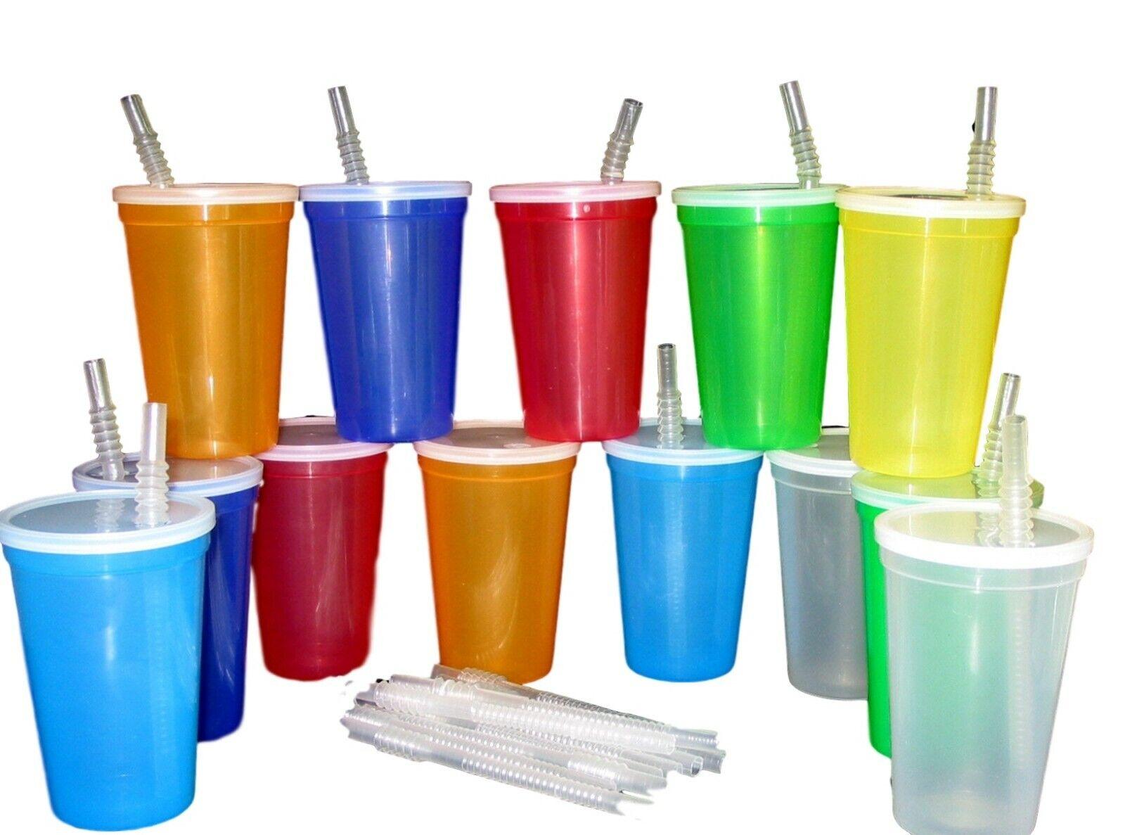 7 - 20 Oz. Plastic Drinking Glasses Lids Straws Mfg USA Mix