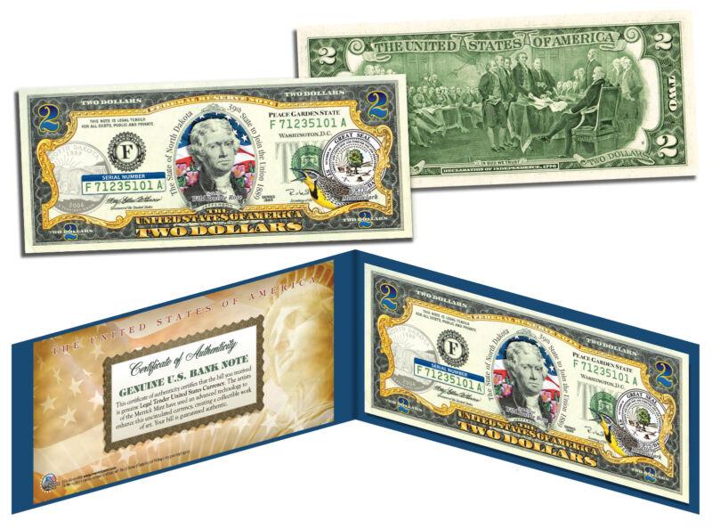 NORTH DAKOTA Statehood $2 Two-Dollar Colorized U.S. Bill ND State *Legal Tender*