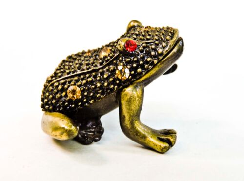 VINTAGE MINIATURE BEJEWELED BRASS FROG FIGURINE RED RHINESTONE EYES