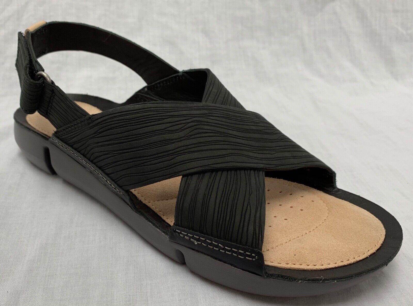 4a728c7a BNIB Clarks Ladies Tri Chloe Trigenic Black Nubuck Leather Flat Sandals