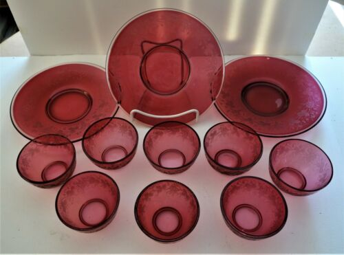 Early Victorian Cranberry Dessert Set, Ca.1840, 11 Pieces, Engraved Decoration