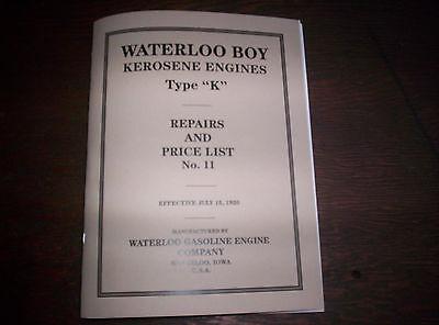 Waterloo Boy Type K Hit Miss Gas Engine Repairs Price List 11 120 Pages