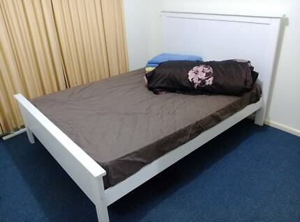 Preloved queen bed mattress and frame