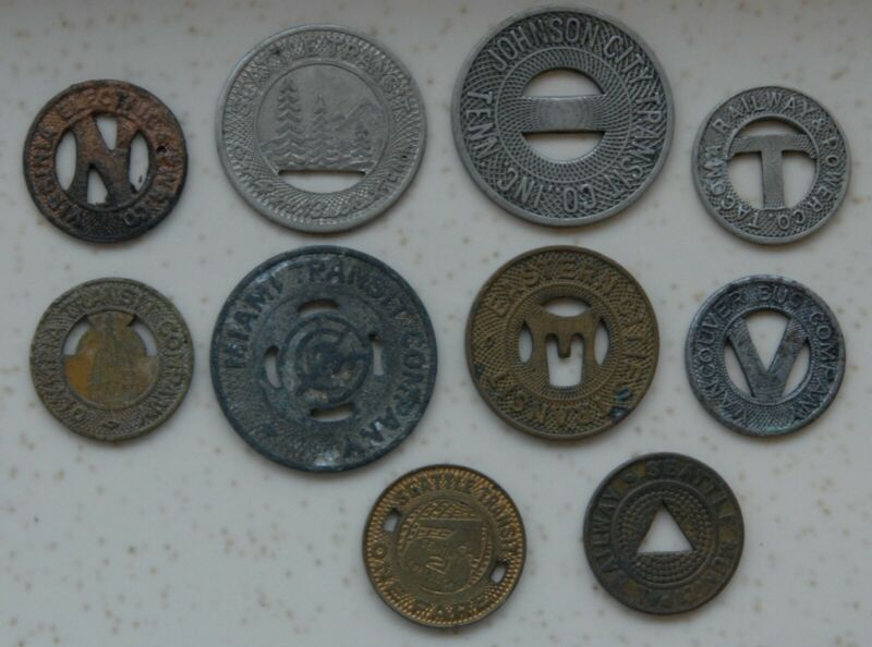 Collection of 10 Vintage Bus Tokens