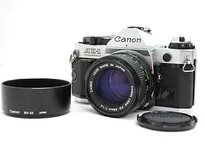 [Exc+5] Canon AE-1 Program SLR Camera w/ New FD 50mm F/1.4 and Hood from Japan