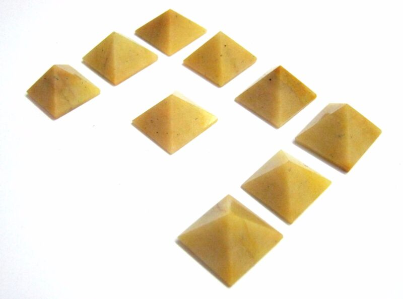 Lot of nine yellow jasper loose pyramid feng shui bagua crystal healing gift