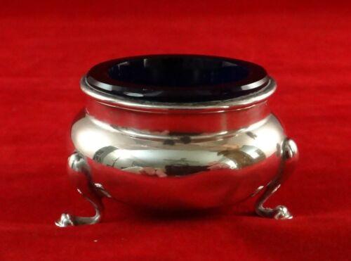 """Vintage Gorham Sterling Silver Salt w/Cobalt Blue glass liner. 2"""" dia."""