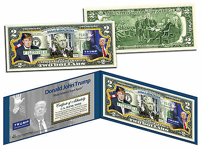 DONALD TRUMP For President 2016 Election Colorized $2 Bill US Legal Tender Money