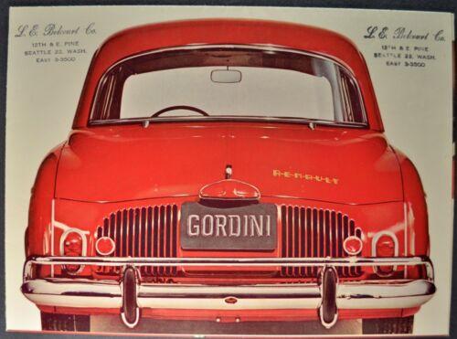 1961 Renault Gordini Sedan Sales Brochure Folder Excellent Original 61