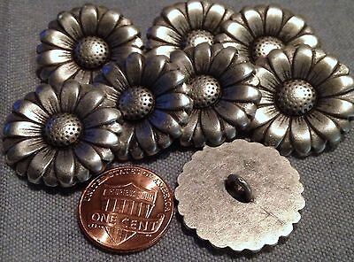 (8 Large Antiqued Silver Tone Metal Shank Buttons Daisy Flower 1