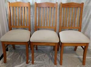 3 Timber Wood & Upholstered Dining Chairs South Windsor Hawkesbury Area Preview