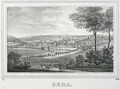 GERA - Gesamtansicht - Saxonia - Lithografie 1834/1835