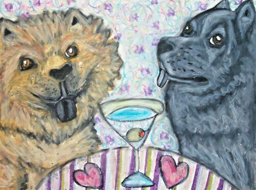 Chow dog drinking a Martini 11 x 14 Kimberly Helgeson Sams Art Print