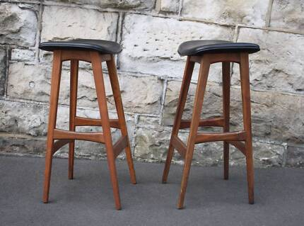 pair of vintage Johannes Andersen style kitchen stools chairs