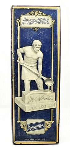 RARE ANTIQUE EARLY 1900s IRONSOX ANTIQUE SOCKS BOX - AWESOME GRAPHICS SCARCE