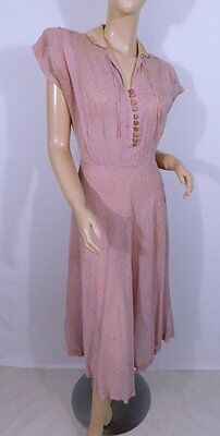 Vintage 1940s 40s Sheer Pink Gingham White Chenille Dots Swank Day Dress S