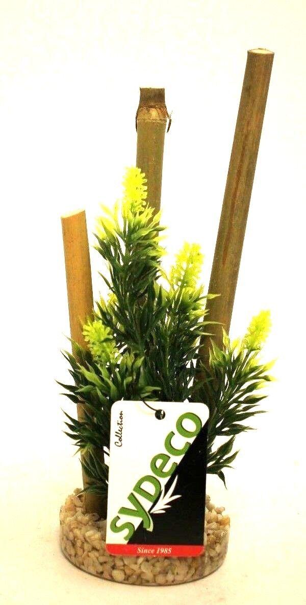 Wasserpflanze Plastik Aquarium Bambus Höhe 20 cm Kies Fußunterteil Plant