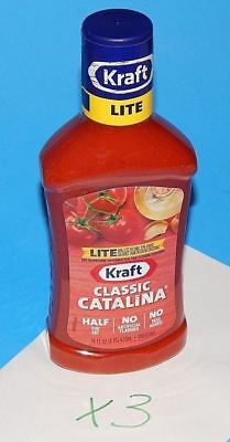 New Kraft Lite Classic Catalina Dip & Salad Dressing 16oz  3 Pack / Lot