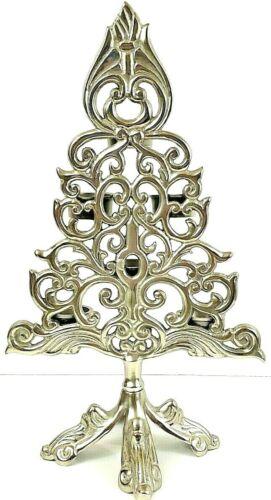 "Christmas Tree Tea Light Holder Pewter Silver 16"" Tall x 9 1/2"" NWOT"