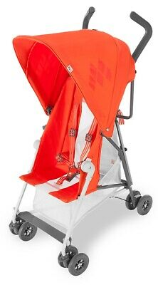 - Maclaren Mark II Compact Lightweight Umbrella Fold Reclining Stroller Orange