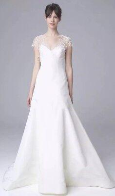 New Authentic Amsale wedding dress beaded bodice taffeta skirt Size 10 $4500 Beading Taffeta Wedding Dress
