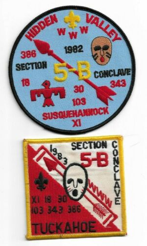 boy scout OA section 5B 1982 HIDDEN VALLEY& 1983 TUCKAHOE conclave patches