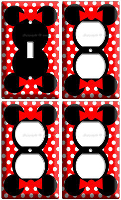 MINNIE MOUSE EARS RED POLKA DOTS LIGHT SWITCH 3 OUTLET WALL PLATE LOT GIRLS ROOM](Red Minnie Mouse Plates)