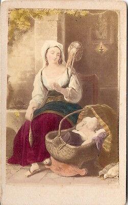 Coloriertes CDV photo Kunstbild Schlaf, mein Kindchen! - 1870er