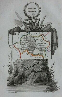 Miniature antique map, ALLIER, MOULINS, MONTLUCON, FRANCE, A.M. Perrot, 1824