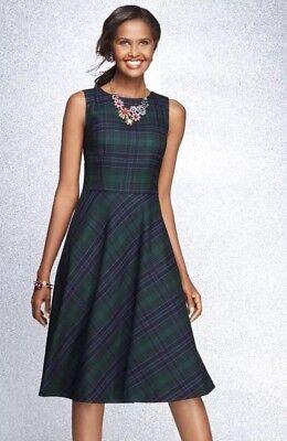 NWT TALBOTS WOMEN TARTAN PLAID WOOL BLEND FIT & FLARE LINED SHIFT DRESS SIZE 12P (Tartan Plaid Dress)