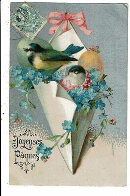 CPA-Carte Postale France-Joyeuses Pâques -Des oiseaux dans un nid