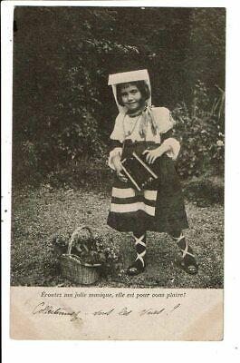 CPA-Carte Postale-France-Une fillette avec son accordéon:Ecoutez ma joliemusique