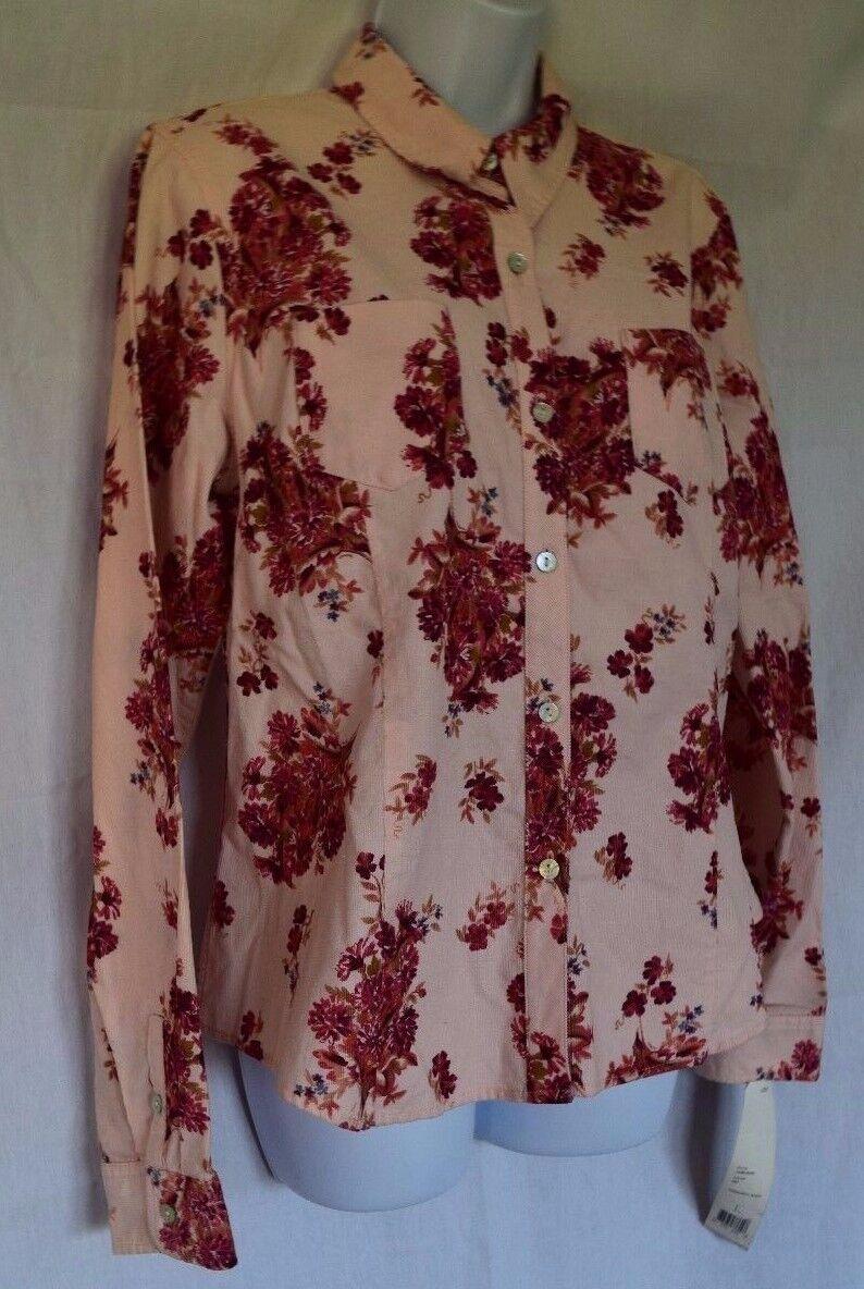 Crazy Horse Liz Claiborne Pink Floral Button Down Corduroy B