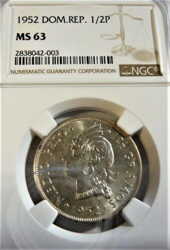 1952 Dominican Republic 1/2 Peso Silver Coin  NGC MS63 BL1