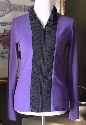 Lucy SOFTSOFTSOFT Purple/Black Micro Fleece Chamois Shirred Placket Zip Jacket S