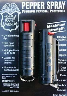 2 PACK POLICE MAGNUM OC-17 MACE PEPPER SPRAY 1/2oz BLACK MOLDED KEYCHAIN