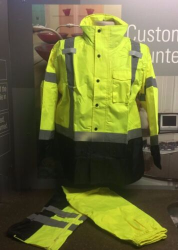 High Visibility Safety Windbreaker Jacket & Pants Combo Hooded ANSI Class 3 S-6X