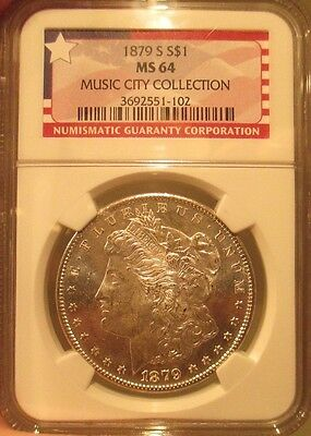 1879 S SILVER MORGAN DOLLAR NGC MINT STATE 64 MUSIC CITY COLLECTION GRADED HOARD COIN