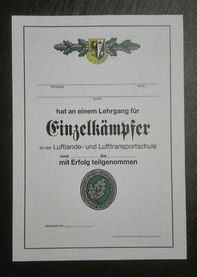 URKUNDE Einzelkämpfer Leistungslehrgang EK 1 Bundeswehr LL-Schule